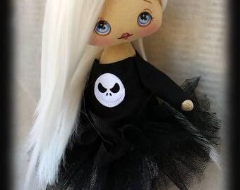 Miniature doll. Goth doll Josephine, with white hair and blue eyes. Goth rag doll, goth cloth doll. OOAK doll, Goth art doll. Fabric doll