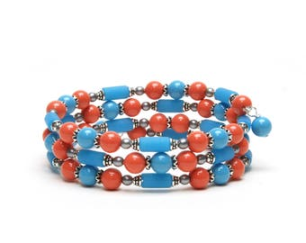 Coral and Turquoise Pearl Memory Wire Bracelet - Swarovski Gemcolor Pearl Wrap Bracelet