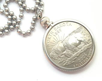 North Dakota State Quarter Coin Necklace with Stainless Steel Ball Chain or Key-chain - 2006 - Bison - Buffalo