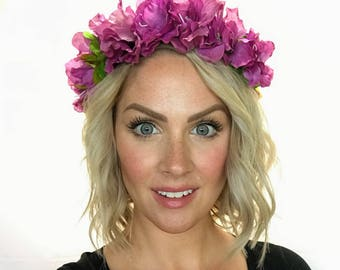 The Gwen - purple Azalea Floral Crown Head Wreath Halo