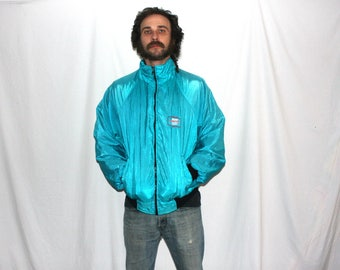 Retro 90s Funky Shiny Blue Green Minimalist Nylon Windbreaker Bomber Jacket.Hip Hop Blue Green Old Lady Dope Advantage Plus Windbreaker Coat