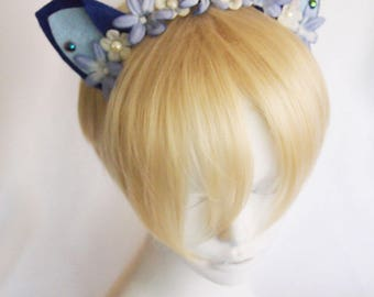 Blue Mini Cat Ears with Blue and White Flowers