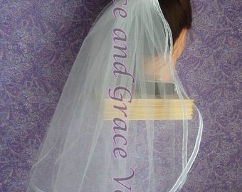 First Communion Veil (h) White on Comb/Barrette