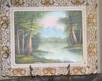 1 Dollar Shipping! Beautiful small shabby chic original oil painting!