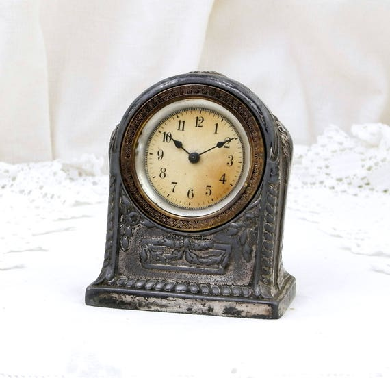 Rare Working English Antique Victorian Silver Plated Worn Patina Neo Classical Mechanical Wind-up Clock Decorated with Ribbons and Roses