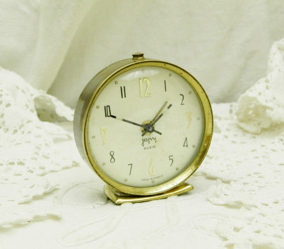 Small Working Vintage Mid Century 1960s French Mechanical Wind Up Japy Alarm Clock, 60s Tiny Retro Bedside Timepiece from France