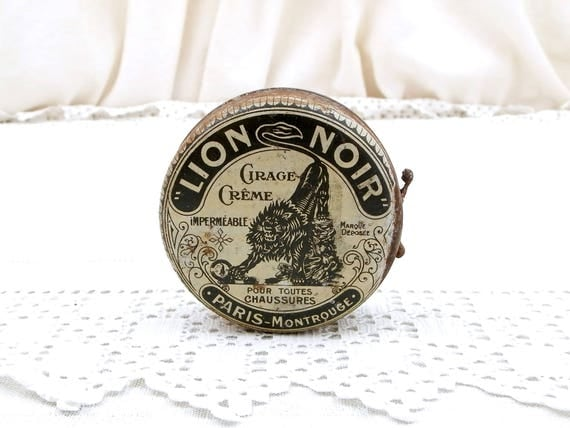 Vintage French War Time WW2 Ration Shoe  Boot Polish Tin Lion Noir Black Lion Paris, Black and White World War Two Leather Cream from France