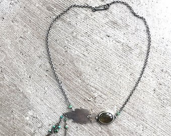 Summer Leaves Silver and Labradorite Necklace