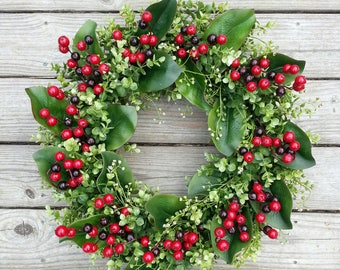 Boxwood Magnolia Wreath, Fall/Christmas Wreath, Autumn Wreath, Holiday Wreath, Rustic Wreath, Front Door Wreath, Thanksgiving Berry Wreath