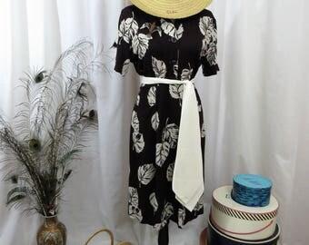 1940's Leaf print shirtwaist dress by Mode O'Day