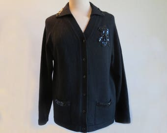 Black Sequined Wool Cardigan With Collar - 1960s