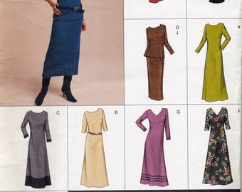 Ladies sewing pattern- Vogue Easy Options - A line Dress, Top and Skirt - sizes 14-16-18 plus