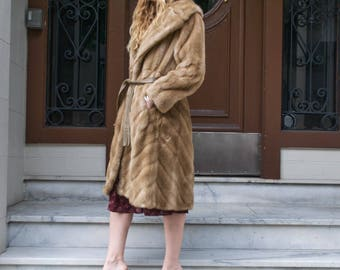 Vintage Faux Mink Fur, Knee-length Coat