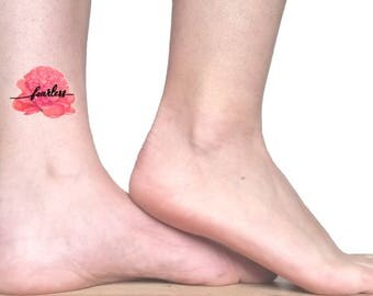 Fearless temporary tattoo quote / coral peony tattoo / floral illustration tattoo / vintage flowers and quotes / botanical foot ankle tattoo