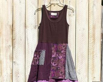 Upcycled boho summer tunic, women's upcycled clothing, tshirt dress, boho chic tunic, eco organic clothing, recycled repurposed tunic