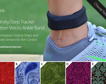 Paisley/Swirls Activity/Step Tracker 100% Cotton Velcro Ankle Band – Encompasses Original Straps and Exposes Sensors for Skin Contact