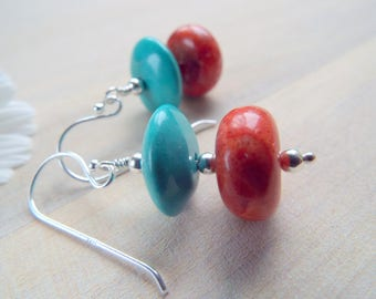 REAL TURQUOISE and Red Sponge CORAL Sterling Silver Earrings, Southwestern Style Jewelry, Turquoise Statement Earrings, byLaurieB