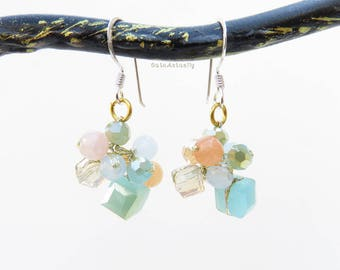 Pastel Light blue crystal earrings with stone on gold silk thread, sterling silver ear wires, white