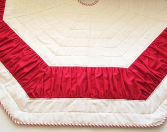 Tree Skirt, Christmas, Ruffle, 54 inches, Red, Cream, Off White, Red Stripe, Octagon, Quilted, Heirloom, Burgundy, Large, Dark Red, Ticking