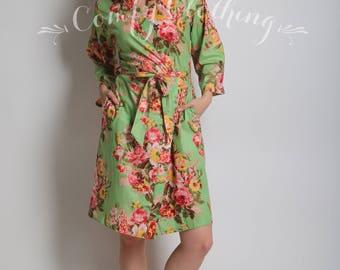 Pistachio light green Floral kimono cross over robe, Bridesmaids robe, Bridal cotton robe, spa robe, beach cover up, dressing up robe