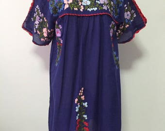 Mexican Embroidered Dress Cotton Tunic In Blue, Boho Dress, Oaxacan Dress, Peasant Dress