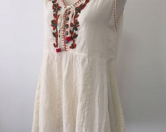 SALE-Hand Embroidered Tank Cotton Sleevess Top