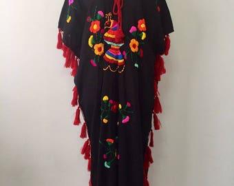Hand Embroidered Dress, Cotton Dress In Black, Long Poncho, Maxi Dress, Boho Dress, Kaftan Dress