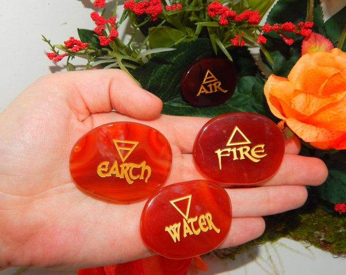 RED AGATE 4 Elements Palm Stone SET - Four Elements and Engraved Symbols on Stone - Reiki Wicca Pagan Energy-work Tool