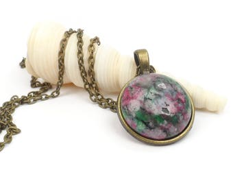 """Ruby Zoisite Necklace, Small Round Red and Green Gemstone Necklace Pendant, 24"""" Boho chic necklace"""