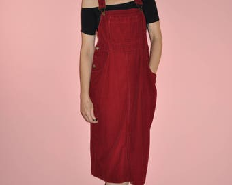 Vintage 80s Red Corduroy Overalls Skirt Dress Dungarees Pinafore L