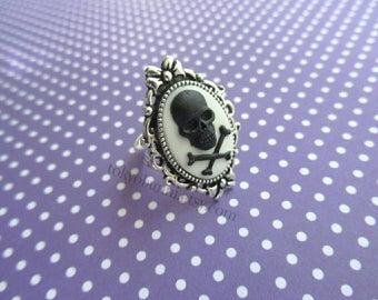 Black White  Skull Bow Cameo Ring- Kawaii- Punk- Sweet Lolita- Gothic Lolita- Pastel Goth- Harajuku