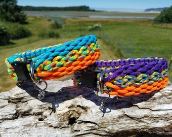 Custom Triple Chainmail Paracord Dog Collar, Choose Your Colors & Closure Type, Custom Wide Paracord Dog Collar, Strong Braided Dog Collar