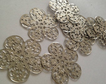 CLEARANCE// 8pcs Large Silver filigree for jewellery making