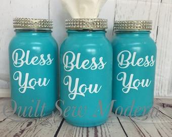 Bless You Mason Jar Tissue Holder