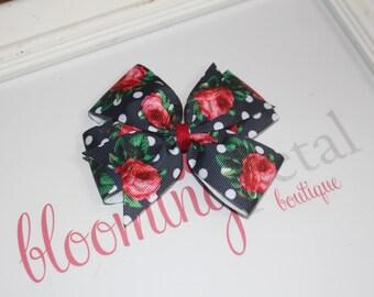 Large Floral Pinwheel Bow