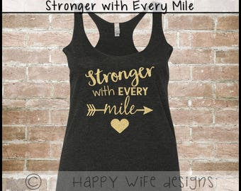 Workout Tank for women - Workout Fitness Tank Top - Fitness Tanktop - Workout Tanktop - Exercise - Gym - Stronger with Every Mile Design