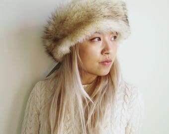 Blue fox scarf  neck warmer  winter fur hat / Ear Warmer, earwarmer  / ear muff, earmuff