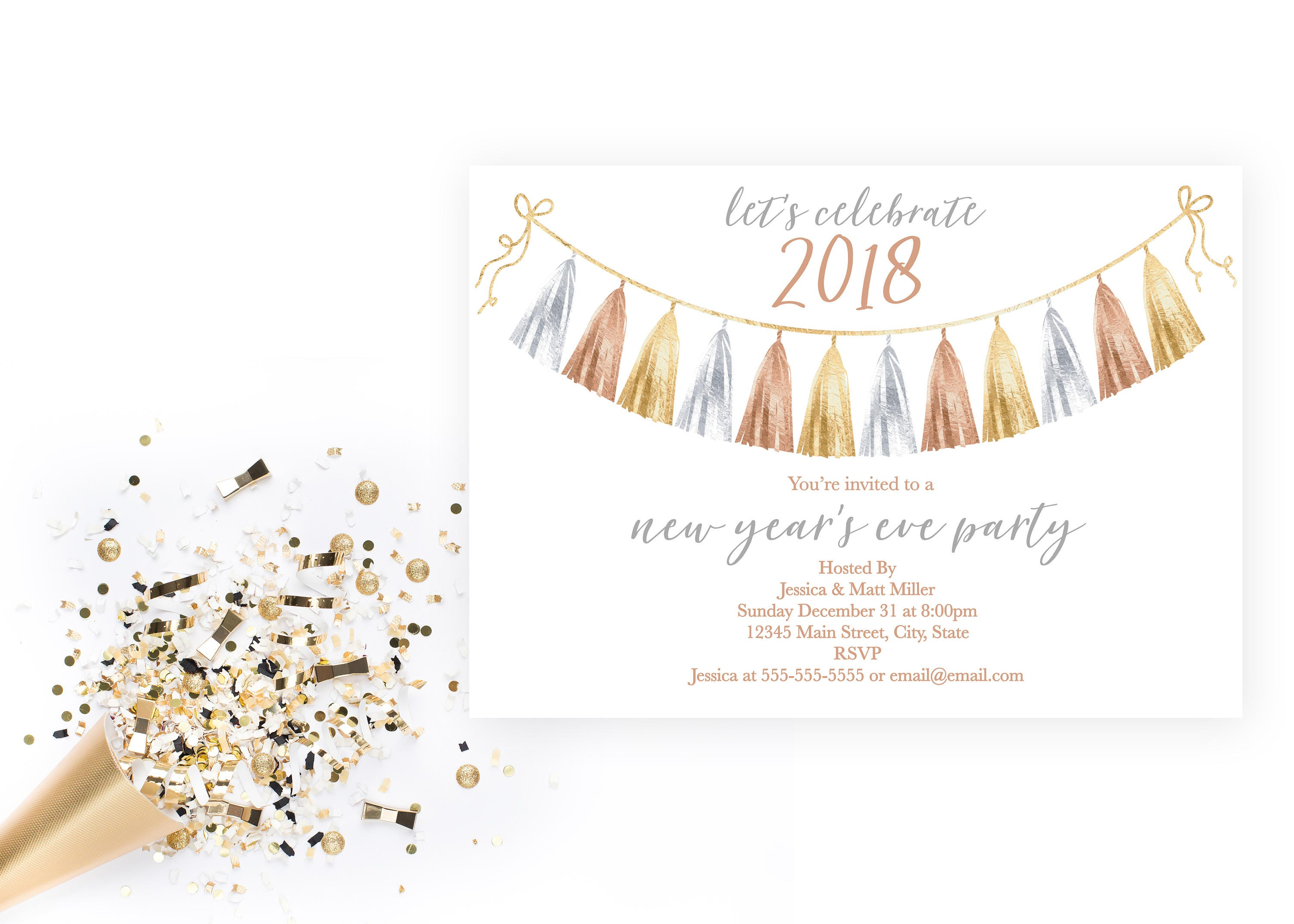 New Years Eve Party Invitation Tassel Garland New Years