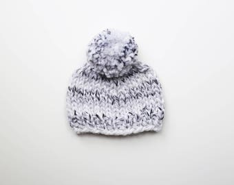 Baby Hat, 0 to 3 months, Knitted Baby Hat, Baby Shower Gift, Gender Neutral Baby Beanie, Pom Baby Beanie, Wool Baby Beanie, Pom Pom Knit Hat