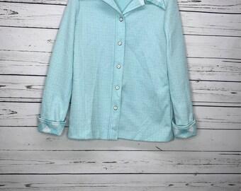 Ladies vintage 70's aqua blue houndstooth print blouse