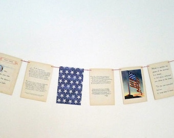 Vintage 1940's 4th of July Bunting/ Red White and Blue Decor