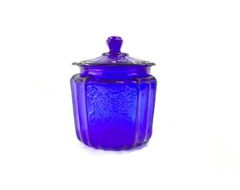 Vintage Mayfair Open Rose Cobalt Blue Biscuit Canister * Anchor Hocking Glass Cookie Jar