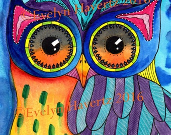 "Whimsical Owl ""Knut"", mixed-media painting on watercolor paper"