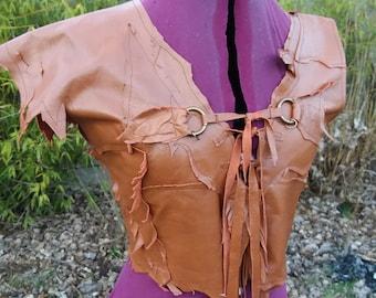 Handmade Brown Leather Patched Shirt Sz M Renaissance Larp Cosplay Conan Old world Elven Warrior Woman Primitive Clothing Hippie Burning Man