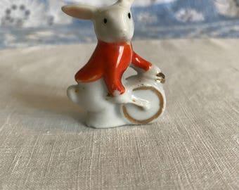 Miniature Rabbit Playing Drum Japan Lusterware Figurine