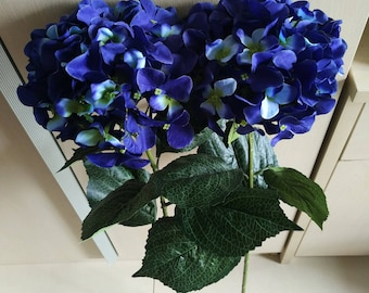 Navy Blue Flowers, Silk Hydrangea Navy Blue Wedding Centerpieces, Tall Wedding Table Centerpieces, Home Decor, 10 Faux Hydrangea DY-XQ1