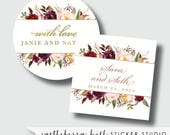 Burgundy and gold stickers, gold and burgundy wedding favor labels, marsala labels, maroon favor labels, burgundy and blush favor labels