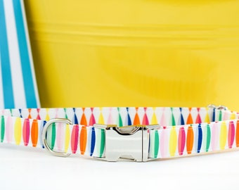 Summer Dog Collar,  Surfboard Dog Collar, Rainbow Dog Collar, Yellow Dog Collar, Female, Male, Pet Collar with Metal Buckle, Puppy, Beach