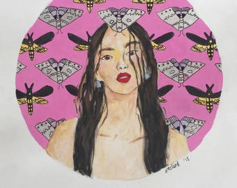 Moth Girl, watercolour painting on paper.