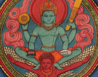 Visnu, god of Creation and Preservation, riding on Garuda Siva Shiva Brahma Hindu trinity gods mantra mala Nepali deity